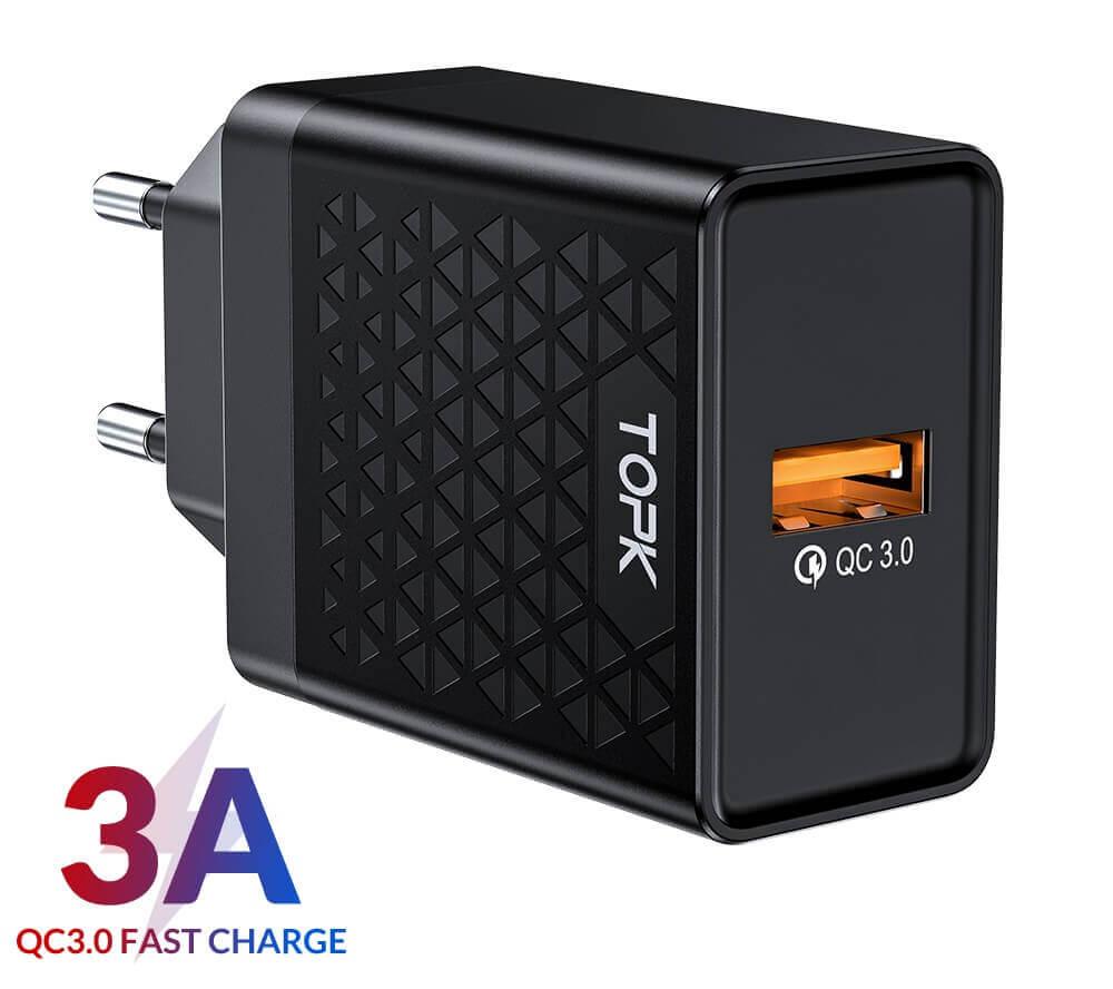 Быстрое зарядное устройство TOPK B154Q, 18W, QC 3.0, цвет черный