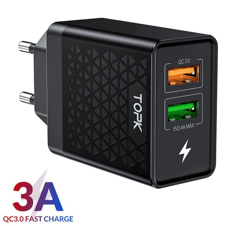 Быстрое зарядное устройство TOPK B254Q, 28W, 2 USB-порта, QC 3.0, цвет черный