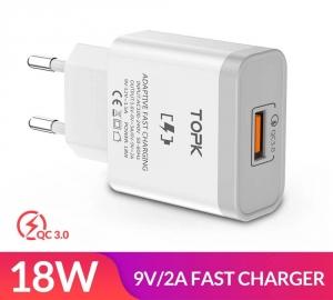 Быстрое зарядное устройство TOPK B126Q, 18W, QC 3.0, цвет белый