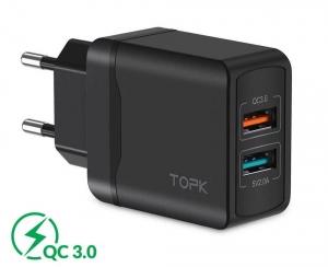 Сетевое зарядное устройство TOPK B244Q, 28W, QC 3.0, цвет черный