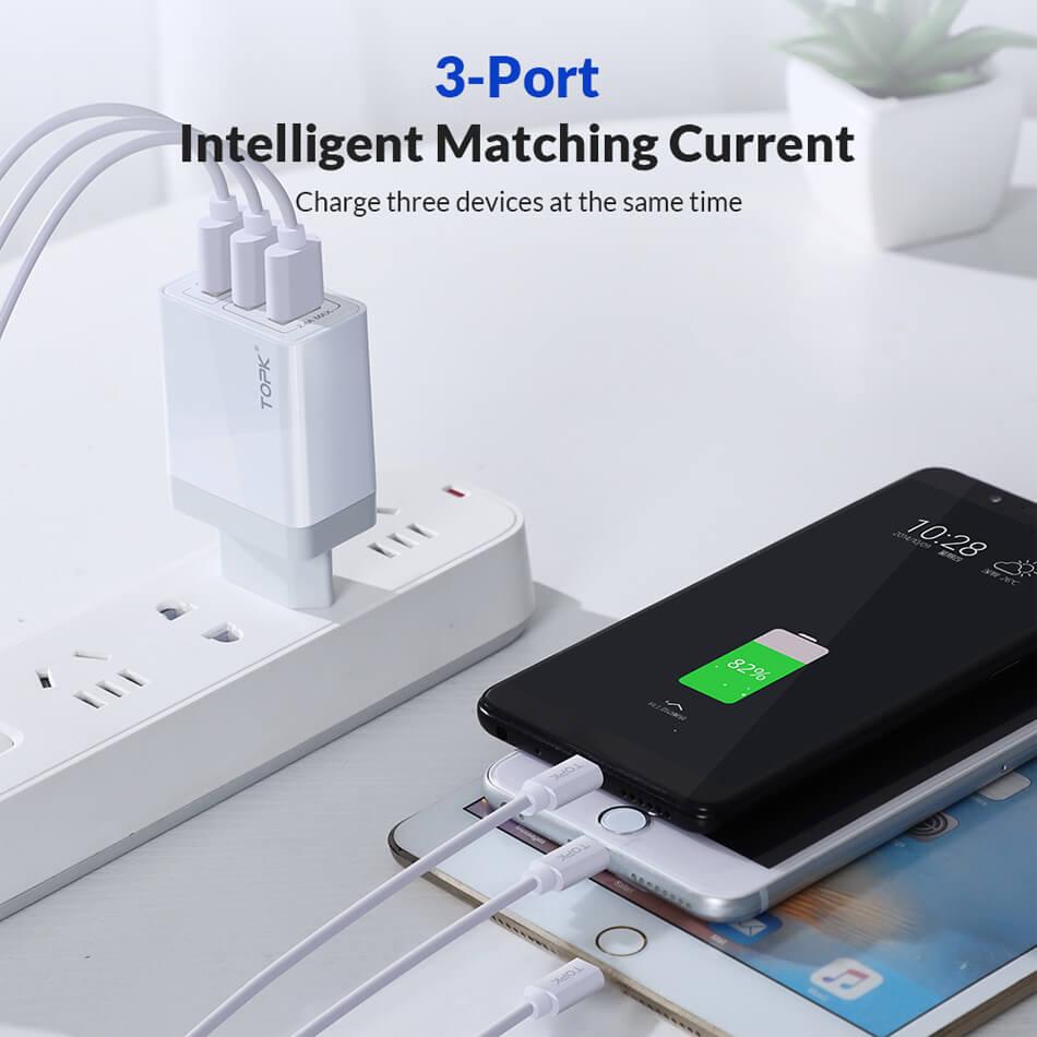 Сетевое зарядное устройство TOPK B348Q, 30W, 3 USB-порта, QC 3.0, цвет черный