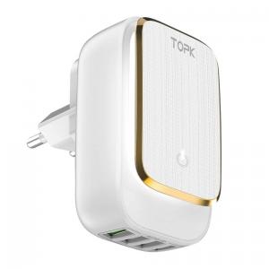 Сетевое зарядное устройство TOPK B413, 22W, 4 USB-порта, с регулируемой LED-подсветкой