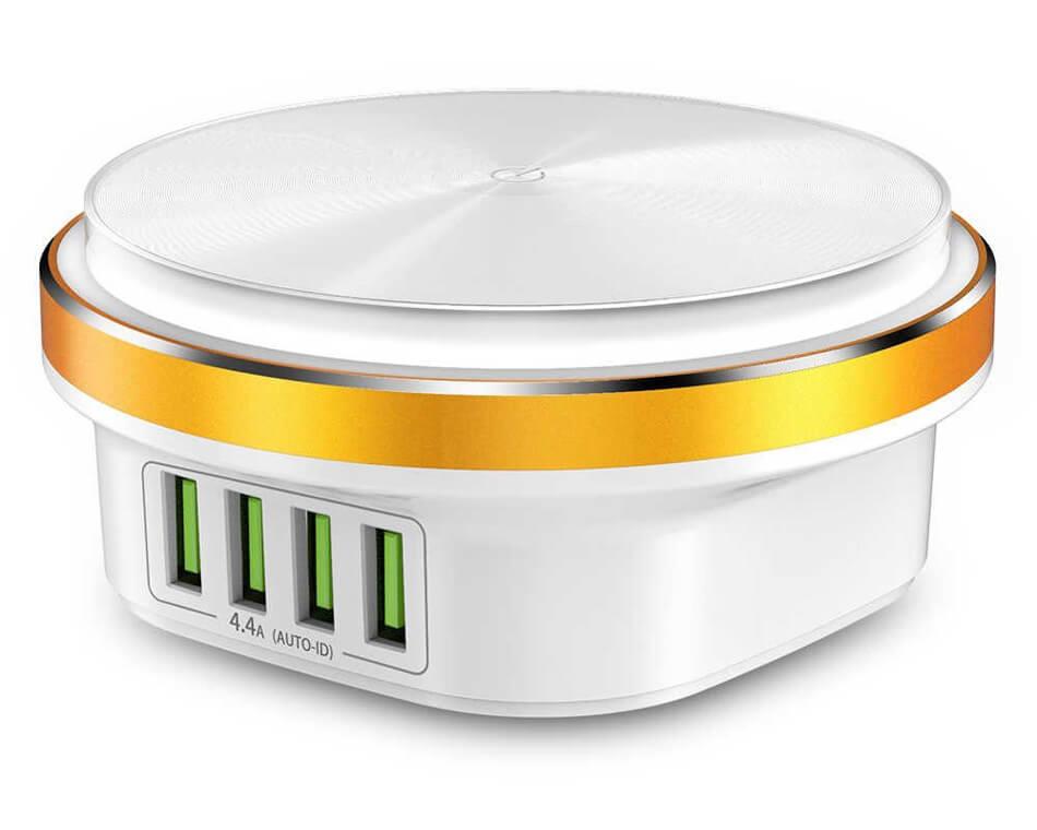 Сетевое зарядное устройство TOPK B433, 22W, 4 USB-порта, с LED-подсветкой